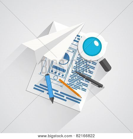 Vector collage of office items