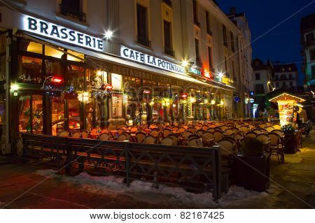 Cafe, Restaurant in the center of town, Chamonix, France