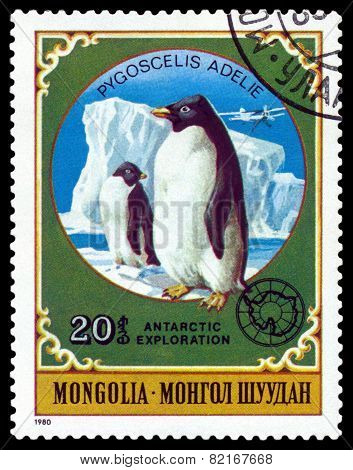 Vintage  Postage Stamp.  Penguins.