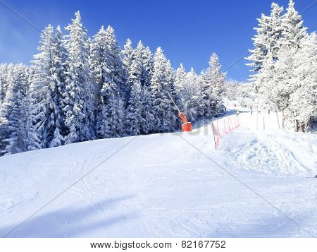 ski slopes in the mountains of Les Houches winter resort, French Alps