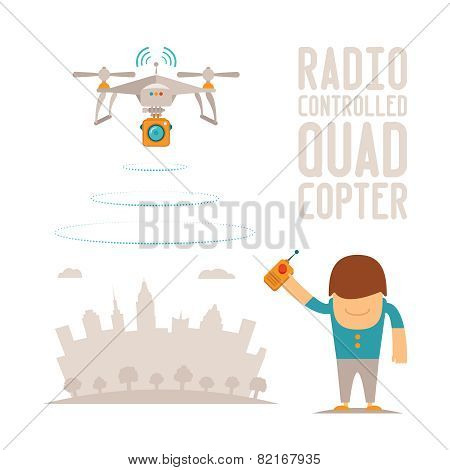 Vector Concept Of Quadcopter Air Drone With Remote Control