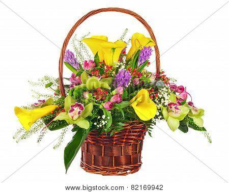 Flower Bouquet Arrangement In Wicker Basket Isolated On White Background.