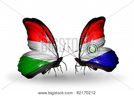 Two Butterflies With Flags On Wings As Symbol Of Relations Hungary And Paraguay