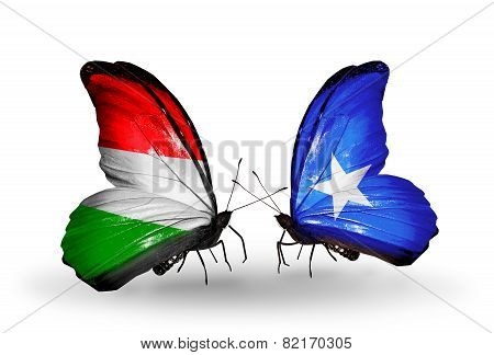 Two Butterflies With Flags On Wings As Symbol Of Relations Hungary And Somalia