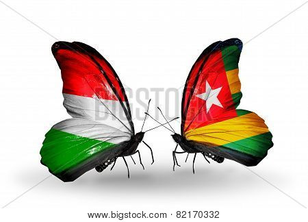 Two Butterflies With Flags On Wings As Symbol Of Relations Hungary And Togo