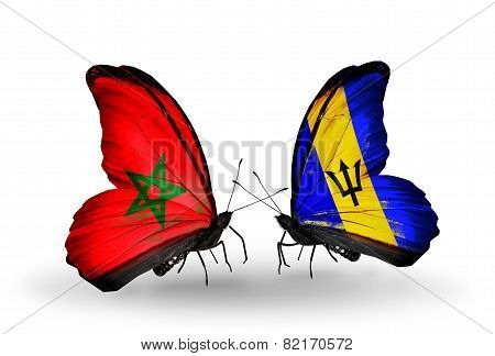 Two Butterflies With Flags On Wings As Symbol Of Relations Morocco And Barbados