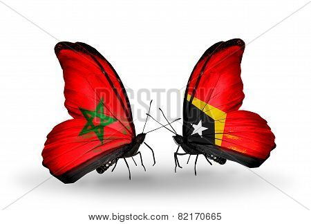 Two Butterflies With Flags On Wings As Symbol Of Relations Morocco And East Timor
