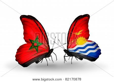 Two Butterflies With Flags On Wings As Symbol Of Relations Morocco And Kiribati