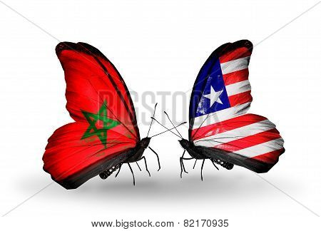Two Butterflies With Flags On Wings As Symbol Of Relations Morocco And Liberia