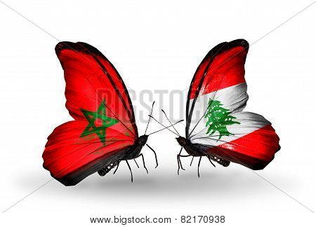 Two Butterflies With Flags On Wings As Symbol Of Relations Morocco And Lebanon