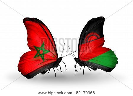 Two Butterflies With Flags On Wings As Symbol Of Relations Morocco And Malawi