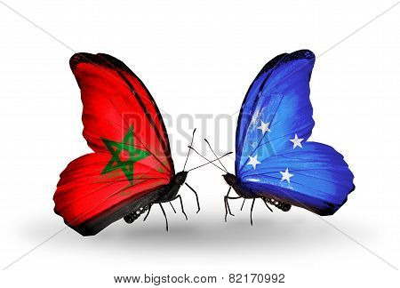 Two Butterflies With Flags On Wings As Symbol Of Relations Morocco And Micronesia