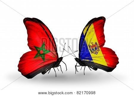 Two Butterflies With Flags On Wings As Symbol Of Relations Morocco And Moldova
