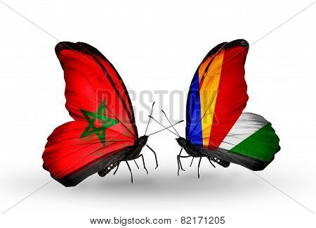 Wo Butterflies With Flags On Wings As Symbol Of Relations Morocco And Seychelles