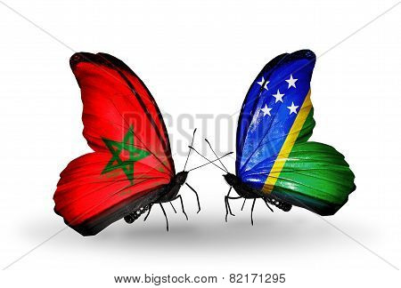 Two Butterflies With Flags On Wings As Symbol Of Relations Morocco And Solomon Islands
