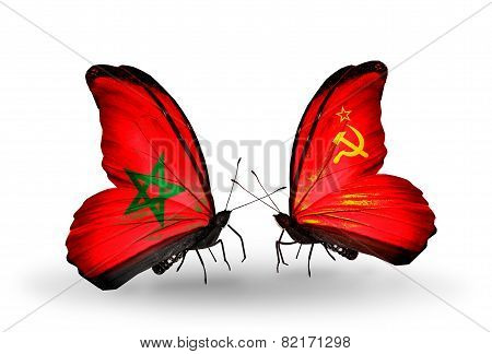 Two Butterflies With Flags On Wings As Symbol Of Relations Morocco And Soviet Union