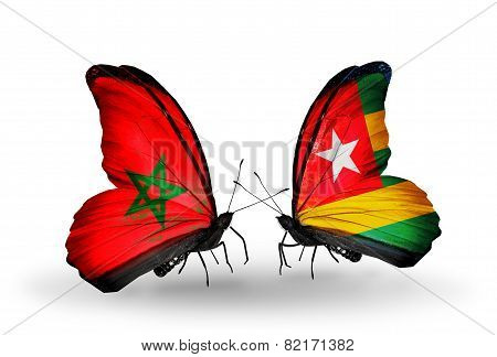 Two Butterflies With Flags On Wings As Symbol Of Relations Morocco And Togo