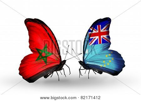 Two Butterflies With Flags On Wings As Symbol Of Relations Morocco And Tuvalu