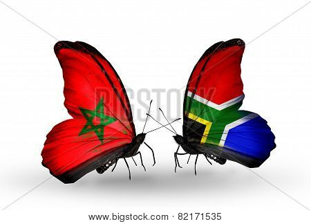 Two Butterflies With Flags On Wings As Symbol Of Relations Morocco And South Africa