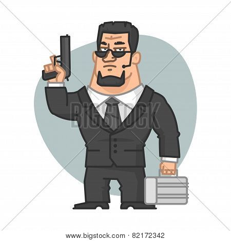 Guard holding gun and suitcase