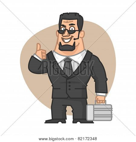 Guard holding suitcase and showing thumbs up