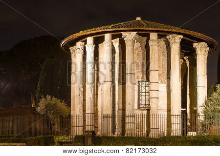 Roman Hercules Temple At Night