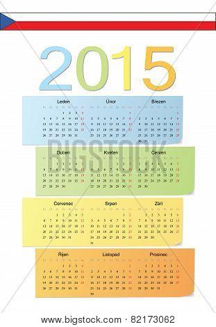 Czech 2015 Vector Color Calendar.