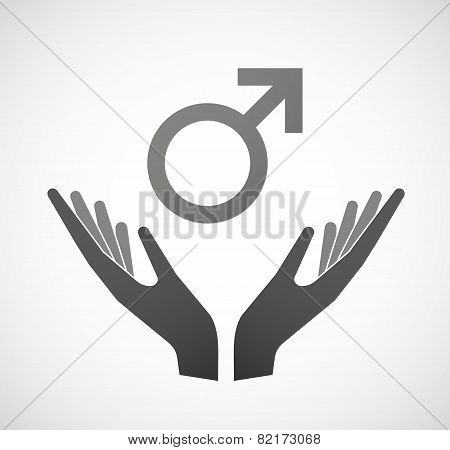 Two Hands Offering A Male Sign