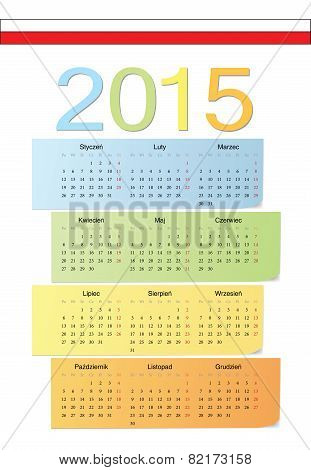 Polish 2015 Vector Color Calendar.