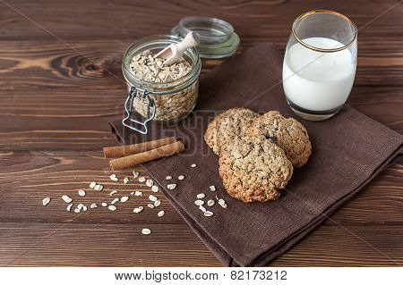Oatmeal Cookies With Milk, Close-up