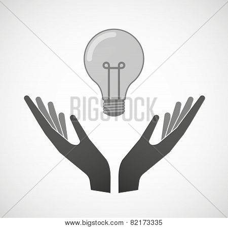 Two Hands Offering A Light Bulb