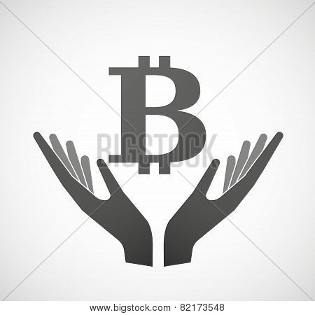 Two Hands Offering A Currency Sign