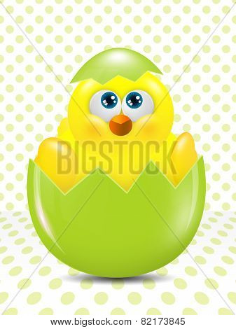 Easter Chick Hatched From Egg Over Dots  Background