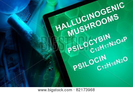 Tablet with the chemical formula of Hallucinogenic mushrooms psilocin, psilocybin.