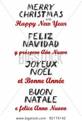 Merry Christmas and Happy New Year in English Spanish French and Italian multilingual wishes set