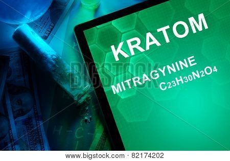 Tablet with the chemical formula of Kratom (Mitragyna speciosa) Mitragynine.