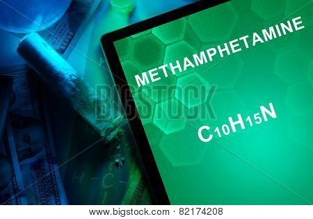 Tablet with the chemical formula of Methamphetamine.