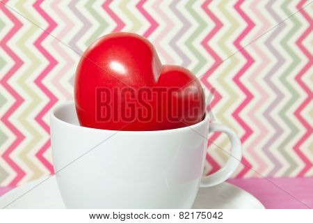 Red Heart In A White Cup