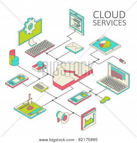 Data infographic isometric set