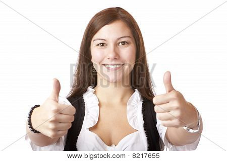 Portrait of Bavarian Woman with dirndl showing thumbs up.