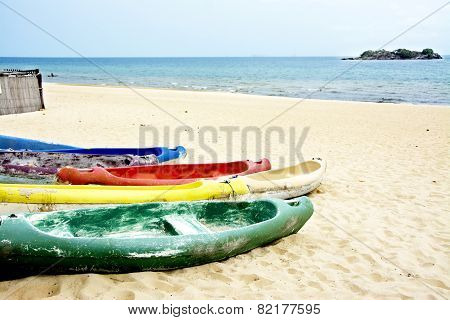 Colorful Canoes on the Beach of Lake Malawi