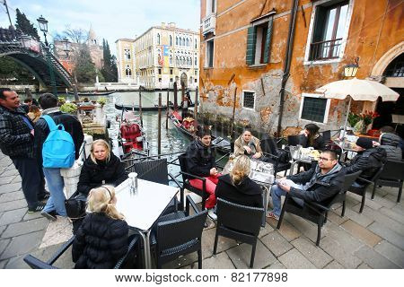 People At Ponte Dell Academia In Venice