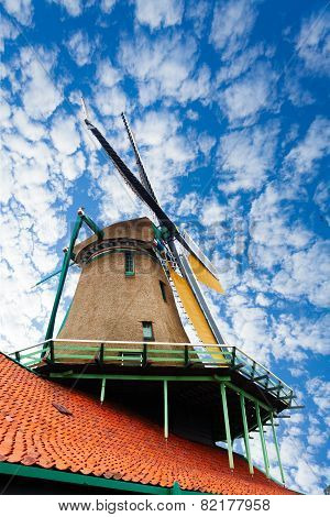 Old windmill in Zaandam, Netherlands