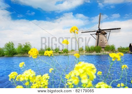 Old windmill in Kinderdijk-Elshout Netherlands