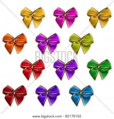 Set of elegant silk colored bows