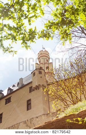 Marksburg castle in Germany at sunny spring day