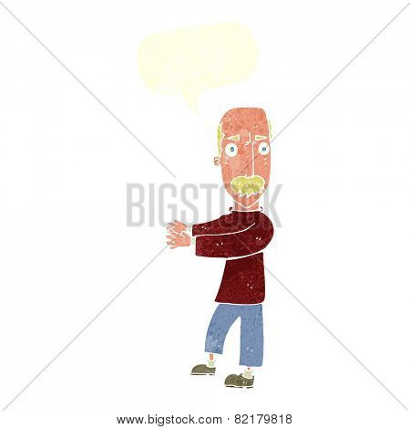 cartoon balding man explaining with speech bubble