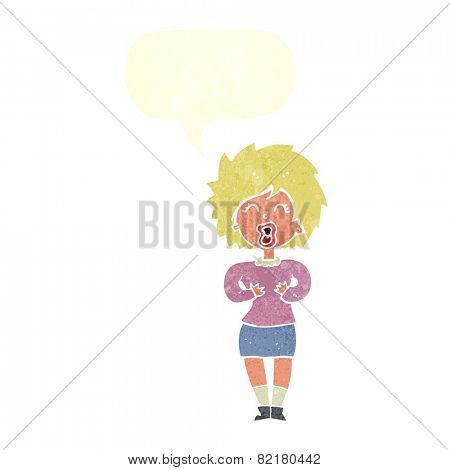 cartoon screaming woman with speech bubble