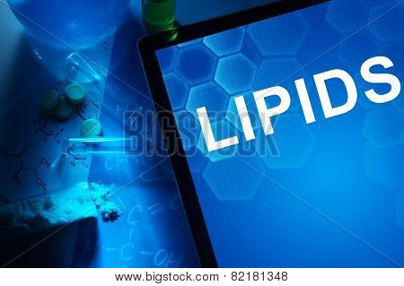 Tablet with the word lipids.