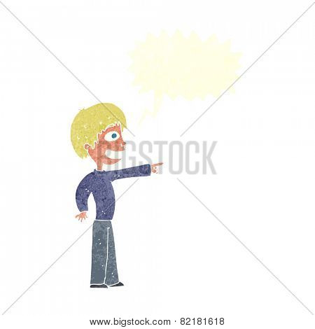 cartoon grinning boy pointing with speech bubble